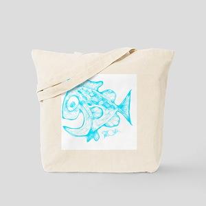 Happy Fish Abstract Art blue Tote Bag