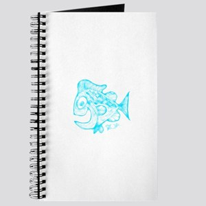 Happy Fish Abstract Art blue Journal