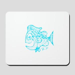 Happy Fish Abstract Art blue Mousepad