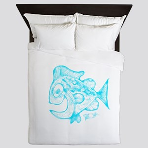 Happy Fish Abstract Art blue Queen Duvet