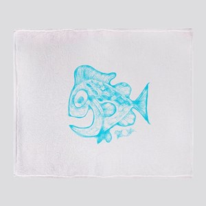 Happy Fish Abstract Art blue Throw Blanket