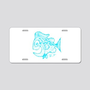 Happy Fish Abstract Art blu Aluminum License Plate