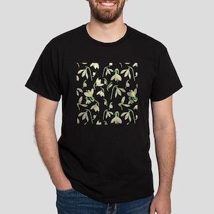 Watercolor Snowdrops Pattern Dark T-Shirt