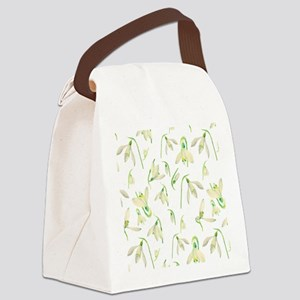 Watercolor Snowdrops Pattern Canvas Lunch Bag