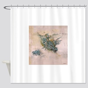 Blue Dragon In The Mist Shower Curtain