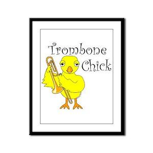 Trombone Chick Text Framed Panel Print