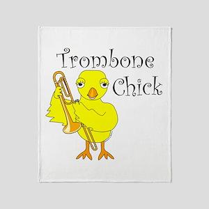 Trombone Chick Text Throw Blanket