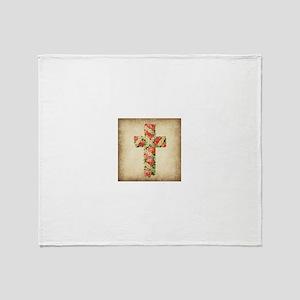 Vintage Pink Rose Cross Throw Blanket