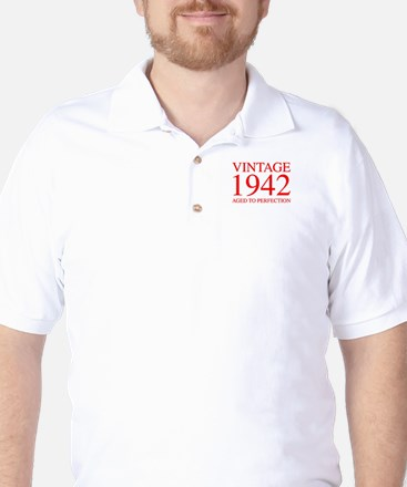 VINTAGE 1942 aged to perfection-red 300 Golf Shirt