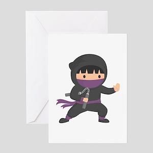 Cute Ninja with Nunchaku for Kids Greeting Cards