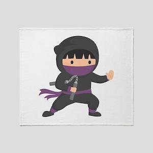 Cute Ninja with Nunchaku for Kids Throw Blanket