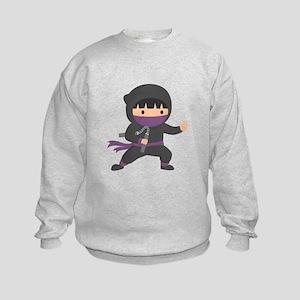 Cute Ninja with Nunchaku for Kids Sweatshirt