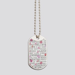 Romantic Rose Petals inspirational words Dog Tags
