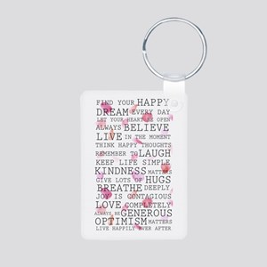 Romantic Rose Petals Inspirational Words Keychains