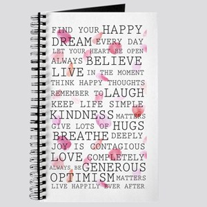 Romantic Rose Petals Inspirational Words Journal