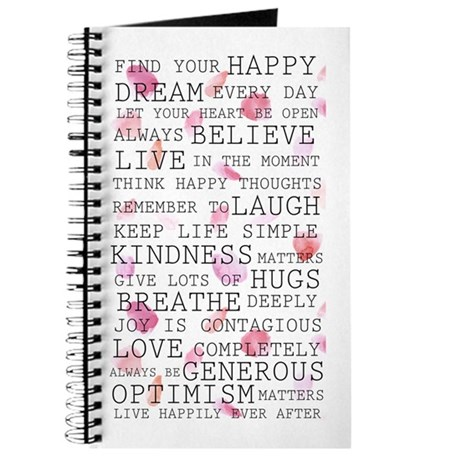 Romantic Rose Petals Inspirational Words Journal
