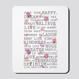 Romantic Rose Petals Inspirational Words Mousepad