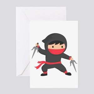 Cute Ninja with Sai for Kids Greeting Cards