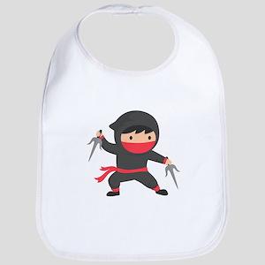 Cute Ninja with Sai for Kids Bib