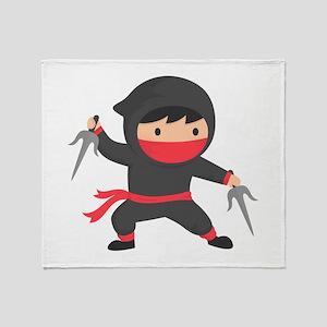 Cute Ninja with Sai for Kids Throw Blanket