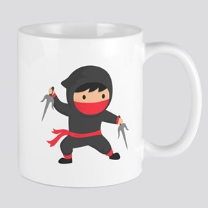 Cute Ninja with Sai for Kids Mugs