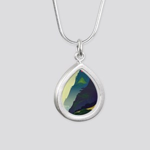 Water Way (right) Silver Teardrop Necklace