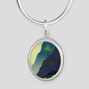 Water Way (right) Silver Oval Necklace