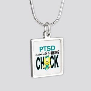PTSD MessedWithWrongChick1 Silver Square Necklace