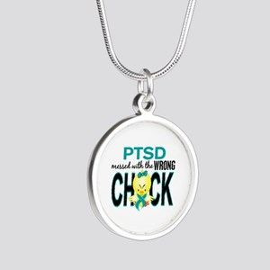 PTSD MessedWithWrongChick1 Silver Round Necklace