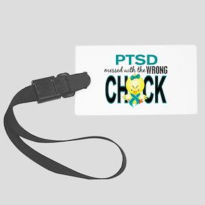 PTSD MessedWithWrongChick1 Large Luggage Tag