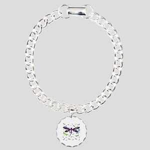 Dragonflies Pattern - Bl Charm Bracelet, One Charm
