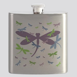 Dragonflies Pattern - Blue, Green, and Purpl Flask
