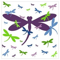 Dragonflies Pattern - Blue, Green, and Purple Canvas Art