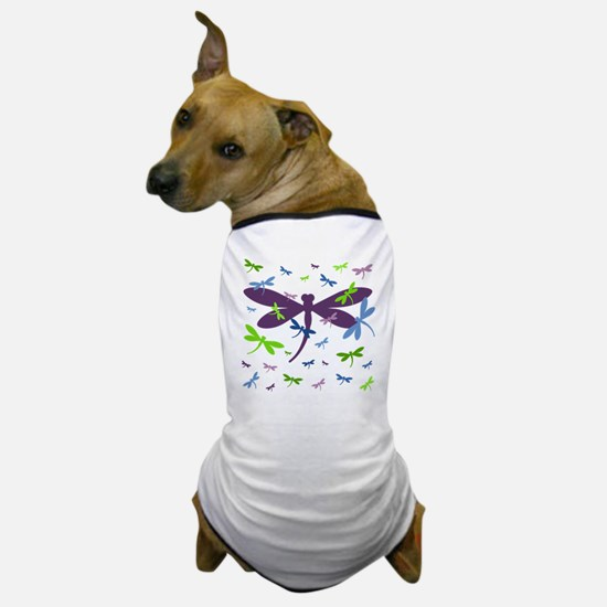 Dragonflies Pattern - Blue, Green, and Dog T-Shirt