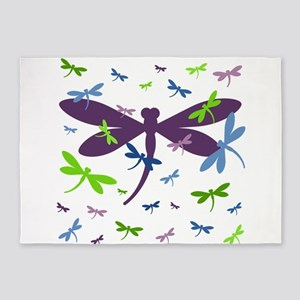 Dragonflies Pattern - Blue, Green, 5'x7'Area Rug