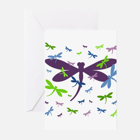 Dragonflies Pattern - Blue, Green, Greeting Cards