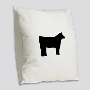 Steer Burlap Throw Pillow