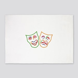 Comedy Tragedy Masks 5'x7'Area Rug