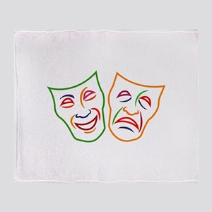 Comedy Tragedy Masks Throw Blanket