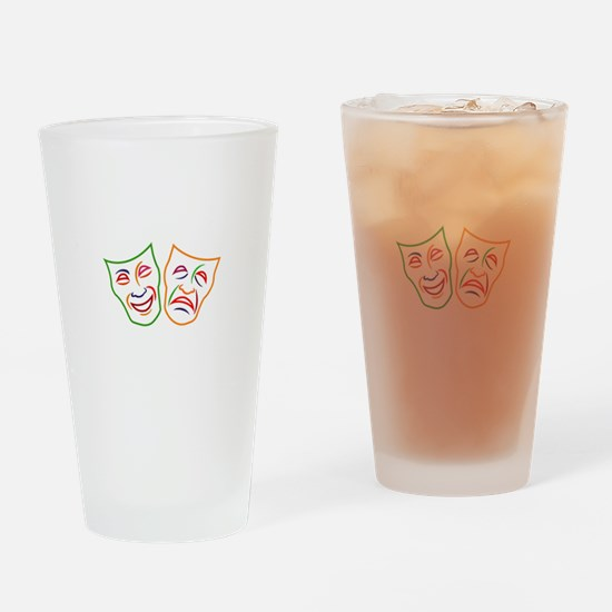 Comedy Tragedy Masks Drinking Glass