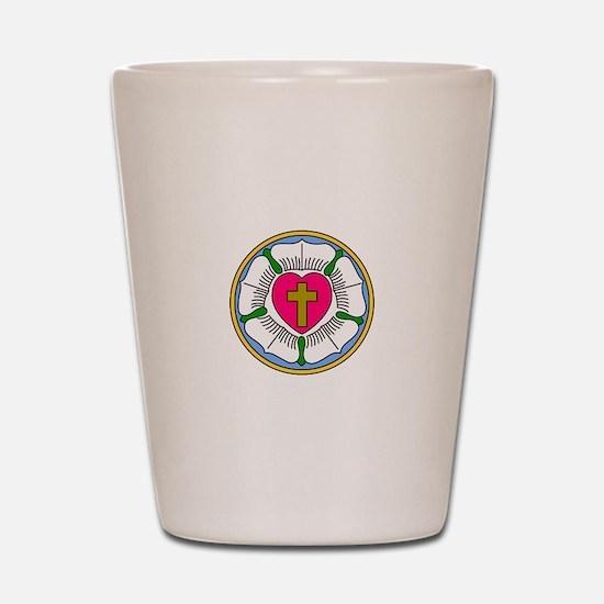 Lutheran Rose Shot Glass