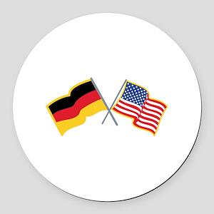 German American Flags Round Car Magnet