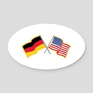 German American Flags Oval Car Magnet