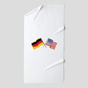 German American Flags Beach Towel