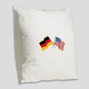 German American Flags Burlap Throw Pillow