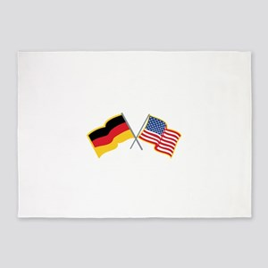 German American Flags 5'x7'Area Rug