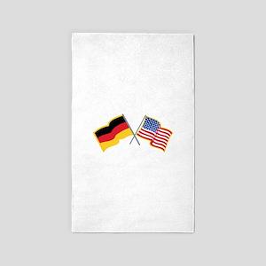 German American Flags Area Rug