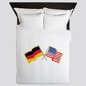 German American Flags Queen Duvet