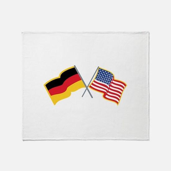German American Flags Throw Blanket