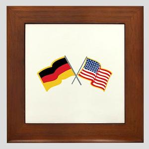 German American Flags Framed Tile